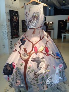 "Fabric art - a silk dress, entitled ""Birds of Prey"" hand embroidered by New Orleans artist Chris Roberts-Antieau"