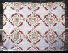 Rocky Mount of Scotland Quilt owned by Elmira Duncan Pearce.  Rocky Mountain Road or New York Beauty.  ca. 1850.  66 x 79 inches.