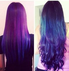 Galaxy hair purple blue ombre