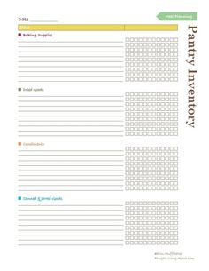Free Printable to Help You Keep Up with What's in Your Pantry: Pantry Inventory List