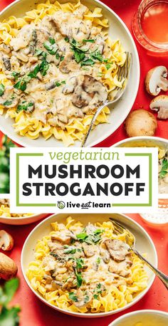 Mushroom Stroganoff does it all, and then some! Whip up this 30-minute dish for a vegetarian meal everyone will love. It's a flavor packed healthy dinner recipe perfect for those busy weeknights. #mushrooms #vegetarian #noodles #pasta #dinner Vegetarian Pasta Recipes, Vegetarian Appetizers, Healthy Dinner Recipes, Vegan Recipes, Vegetarian Dish, Vegetarian Dinners, Quick Recipes, Vegetable Recipes, Healthy Comfort Food