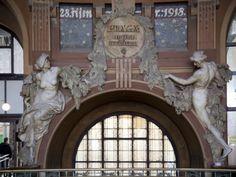 Art Nouveau Statues of Two Women in Railway Station, Prague, Czech Republic, Europe Photographic Print Prague Places To Visit, Art Nouveau Interior, Fabric Photography, Shape Art, Art Nouveau Jewelry, Exhibition Space, Czech Republic, Architecture Details, Prague Czech