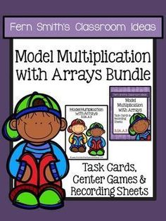 Model Multiplication with Arrays - Quick and Easy to Prep Center, Printables and Task Cards Bundle #TPT #FernSmithsClassroomIdeas $paid