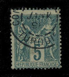 1898 - N°75 5c VERT T.I OBL. CAD CONSTANTINOPLE / TURQUIE