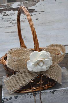 Rustic Burlap Flower Girl Basket   Simple Flower by SettingUpHouse, $26.00