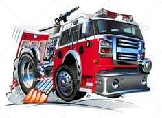 Vector Cartoon Fire Truck #GraphicRiver