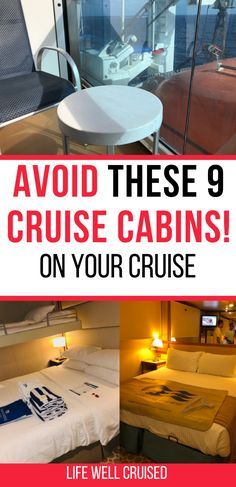 Are you wondering about the best and worst cruise cabins? While any cabin on a cruise is still a good vacation, there are definately some rooms that are better than others. Plus, if you're a bit picky or get bothered by motion sickness, then you want to avoid these 9 cruise cabin types and bad locations on a cruise ship. #cruise #cruisetips #cruises #cruising