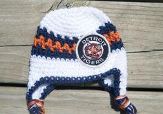 Items similar to Handmade Newborn Detroit Tigers Inspired Baby Earflap Crochet  Hat with Bow Option   MLB Baby   Photo Prop   Custom Made on Etsy aaea30bbc6e5