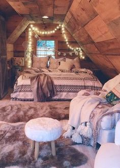 What a cute attic spare bedroom! Great for when you just want to escape with your man or read a good book while it's raining.
