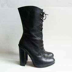 Wish I could wear these in uniform... Opening Ceremony boots size 9 - black leather lace up boots size 39 - $157.00  #FlipPinWin