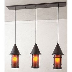 "Arroyo Craftsman Valencia 3 Light Kitchen Island Pendant Size: 15.13"" H x 36"" W, Finish: Rustic Brown, Shade Color: Cream"