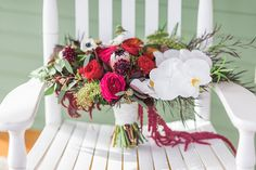 Beautiful Wedding Bouquets on Chairs - Mon Cheri Bridals
