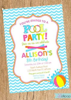 Pool Party Invitations Ideas Birthday Printable Printables