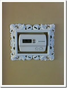 Home decor DIY, how to hide thermostat Hide Thermostat, Thermostat Cover, Diy Casa, First Apartment, Apartment Hacks, Apartment Living, Cheap Apartment, Apartment Therapy, Home And Deco