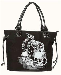 BACK IN BLACK SKULL PURSE by Banned Apparel. - #infectiousthreads #goth #gothic #horrorpunk #punk #alt #alternative #psychobilly #punkrock #black #fashion #clothes #clothing #darkfashion #streetfashion #purses #handbags
