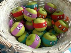 Ninja Turtle Apples ACTION FOR HEALTHY KIDS. Used edible eyeballs.