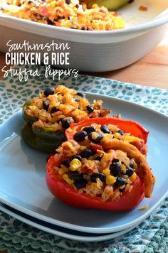 Southwestern Chicken And Rice Stuffed Peppers