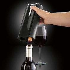 Pin for Later: 250+ Gifts For Every Kind of Geek! Automatic Wine Opener With Foil Cutter Start happy hour early and magically open 50 wine bottles with one charge of the Brookstone wine opener ($35, orginally $50).
