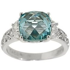 4.00 Ct Cushion Cut Aqua & D/VVS1 Tourmaline Ring In 14K White Gold Over by JewelryHub on Opensky