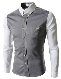 (AL732-GRAY) Slim Fit Stretchy 2 Tone Pocket Patched Long Sleeve Shirts