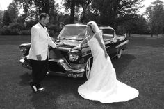 classic car wedding.  This is the same car that brought her grandmother to the church on her wedding day.