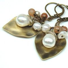White Keshi and Freswater PearlsOpalAntique Gold by martaky, $30.00