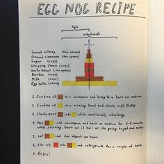You can even use your #bujo to write down your recipes. The colour coding makes it easier to group ingredients and the pyramid structure makes it easier to see what you need for a single or a double portion. This is a recipe I lifted from the net but have since modified to my tastes. You get a pretty rich #eggnog from this so drink responsibly. Oh, and feel free to double the bourbon if that's your preference. (I stupidly forgot to add a step the last time I posted this. Need more sleep)…
