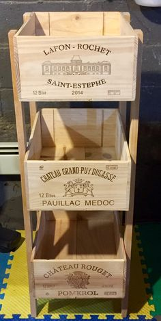 Wine crate storage tower Wine Crate Decor, Wine Crate Table, Wooden Wine Crates, Crate Storage, Crate Shelves, Tv Storage, Record Storage, Wine Tower, Crate Crafts