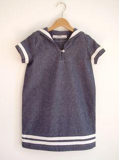 sailor dress handmade from Germany Little Girl Fashion, Kids Fashion, Little Girl Dresses, Girls Dresses, Blue Jean Dress, Kids Outfits, Cute Outfits, Sailor Dress, Mini Vestidos