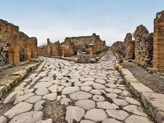 Pompei, the city mostly destroyed and buried under ash and pumice in the eruption of Mount Vesuvius in 79 AD.