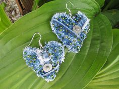 Earring  HeartShaped Recycled Designer Paper by daringmisslassiter, $15.00
