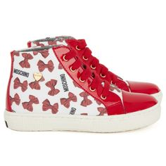 Moschino Red Bow High Top Trainers  #Red #Heart #Mischino