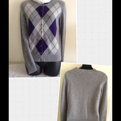 SOFT SOFT APT. 9 100% CASHMERE ARGYLE CARDIGAN Ultra soft Apt. 9 100% cashmere argyle long sleeve, 9 button cardigan. Beautiful purple, light and medium gray.  This cashmere cardigan can be hand-washed cold. Apt. 9 Sweaters Cardigans