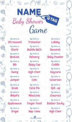 Name Tag Baby Shower Game