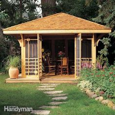 <p>Inspired by classic north woods cabins, this cedar screen house is the perfect summer hangout. Complete plans and detailed how-to photos show everything you need to build it in your yard.</p>