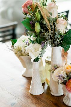 Vintage Styled Centerpieces | Oregon Wedding Photographer