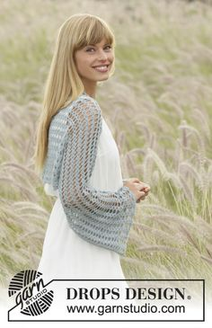 "#Crochet DROPS shoulder piece with fan pattern in ""Lace"". Size S- XXXL. Free Pattern"