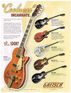 Gretsch Guitars Magazine Advertisement. This is an ORIGINAL Guitar MAGAZINE PRINT AD and NOT A REPRODUCTION. This ad is poly bagged and acid free boarded, ready to trim and frame. | eBay! #GretschGuitars