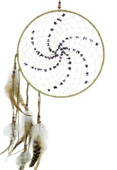 Energy Flow Dream Catcher -  Energy - Detailed with pig suede hide, Amethyst Semi Precious Stones, wood and glass beads and hackle feathers. Webbed with sinew. Review the collection off of: http://www.indianvillagemall.com/dreamcatchers/index.html
