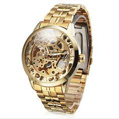 Relógio de Pulso Masculino Dourado com Pulseira de Aço Inoxidável – EUR € 18.99