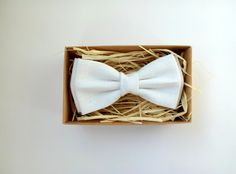 White Linen Boy's Bow Tie Christening Attire by ArtOfLithuania