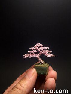 Micro Pink wire bonsai tree by Ken To by KenToArt
