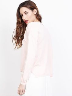 1be69aa4e063d Pull fin en coton pour femme avec motif étoile col v rose pale poudré made  in
