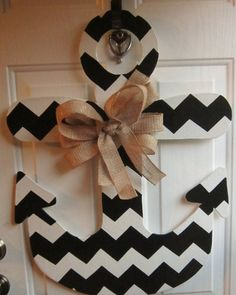 Anchor Door Hanger Chevron Print Black and by WettPaintDesigns