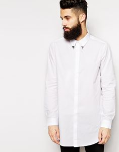 Image 1 ofASOS Shirt in Super Longline with Collar Tips