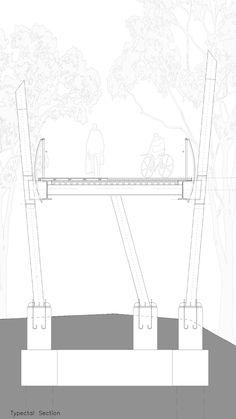 The Gdora Bridge by BO Landscape Architecture - 谷德设计网 Architecture Details, Landscape Architecture, Wood Path, Structural Drawing, Sky Walk, Section Drawing, Landscape Structure, Bridge Design, Pedestrian Bridge