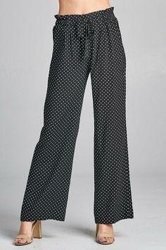 9ac15c28cb53 Ladies fashion self ribbon detail long wide leg dot print woven pants   fashion  clothing