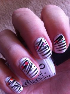 Halloween Mummy Nails OPI Alpine Snow, freehand stripes and red glitter