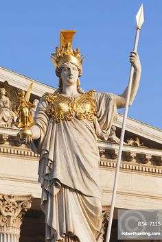 The Athena Statue Of The Athena Fountain in Vienna, Austria Athena Statue, Apollo Statue, Shiva Statue, Statue Of Liberty Tattoo, Statue Tattoo, Liberty Statue, Hermes Statue, Roman Sculpture, Greek Gods