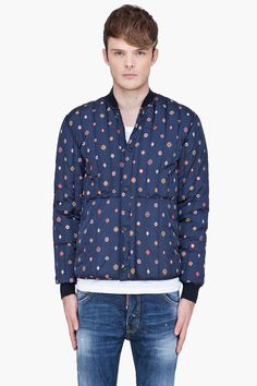 KENZO blue patterned quilted Jacket